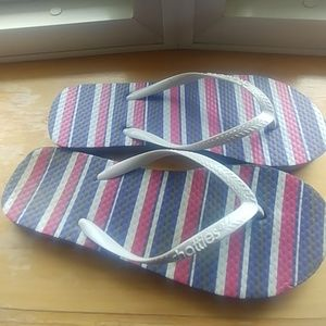 Red, White and blue flip flops